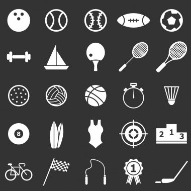 Sport icons on black background