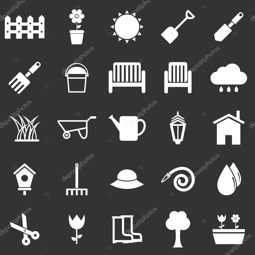 Gardening icons on black background