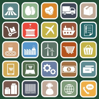 Supply chain flat icons on green background