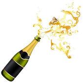 Illustration of explosion of champagne bottle