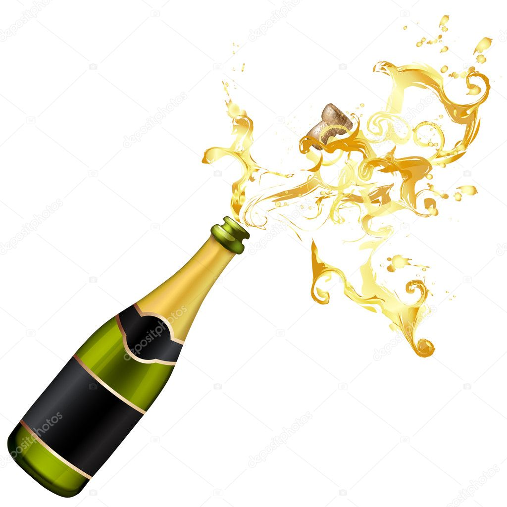 Illustration of explosion of champagne bottle