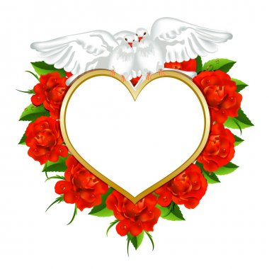 Valentine s card with roses and pigeons