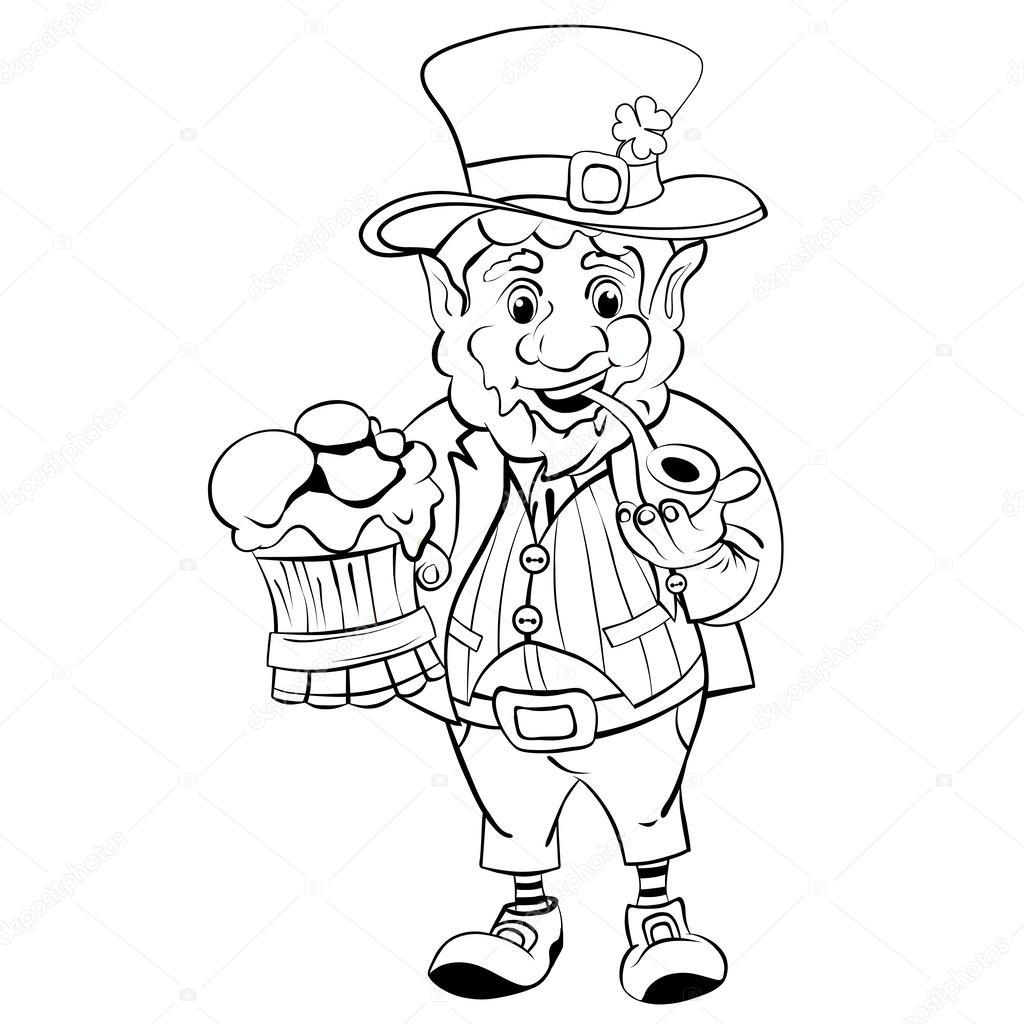 Cartoon Leprechaun. St. Patrick\'s Day. Drawing style black — Vector ...