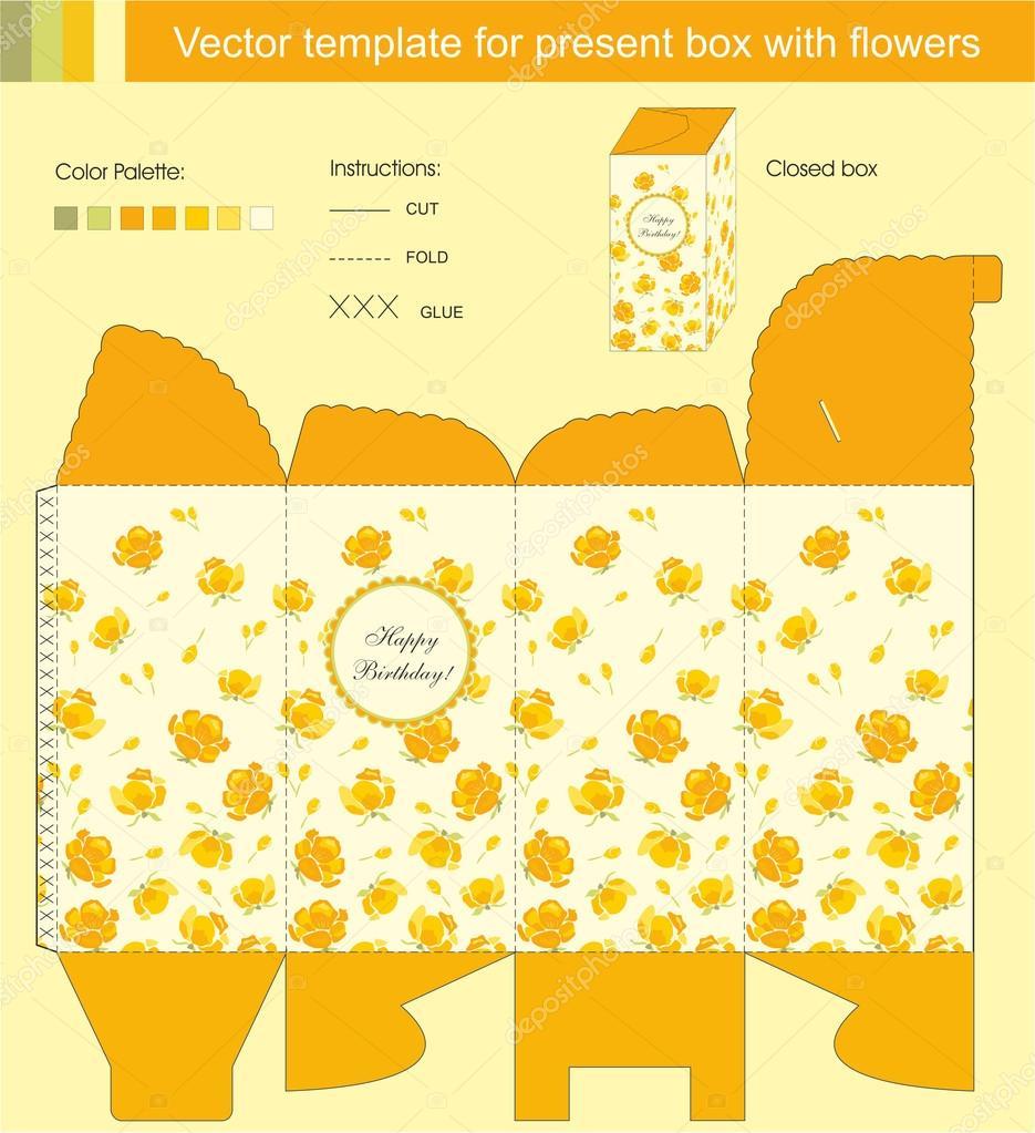 花プレゼント ボックスのベクトル テンプレート ストックベクター