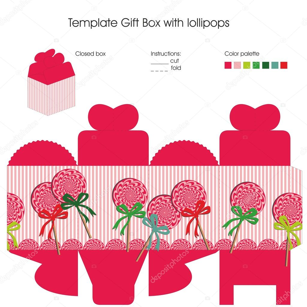Template gift box with lollipops Vector Elenasz 23583951 – Template for Gift Boxes