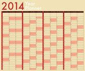 Kalendář 2014. roční Plánovač. týden začíná v neděli