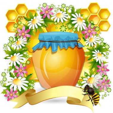 Background with honey jar bees and beautiful flowers
