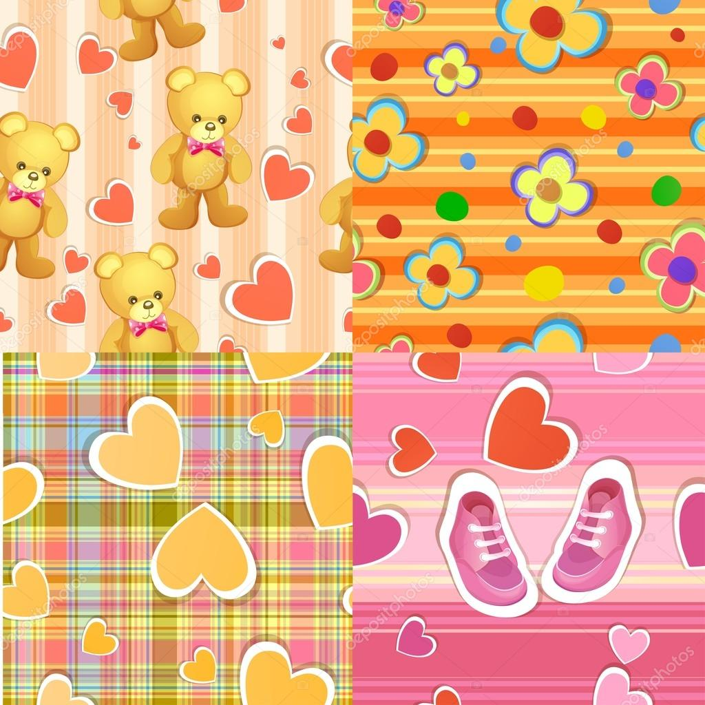 Set of 4 seamless baby background patterns
