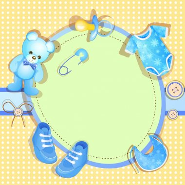 Blue baby shower card with baby boy elements