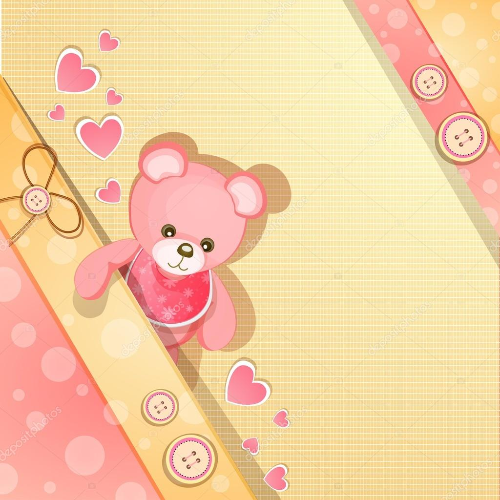 Pink baby shower card with cute teddy bear