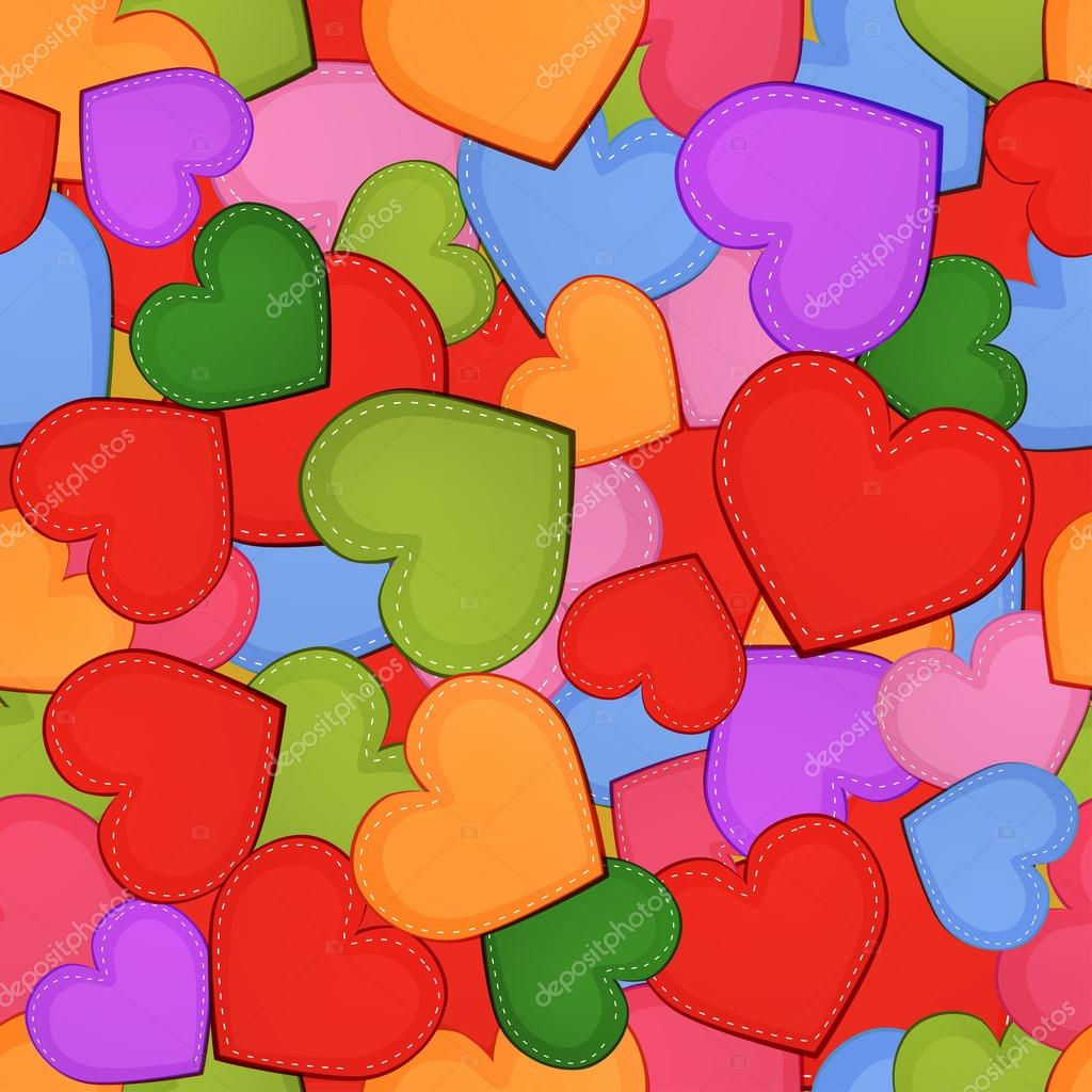 Valentine's day seamless pattern with colorful hearts