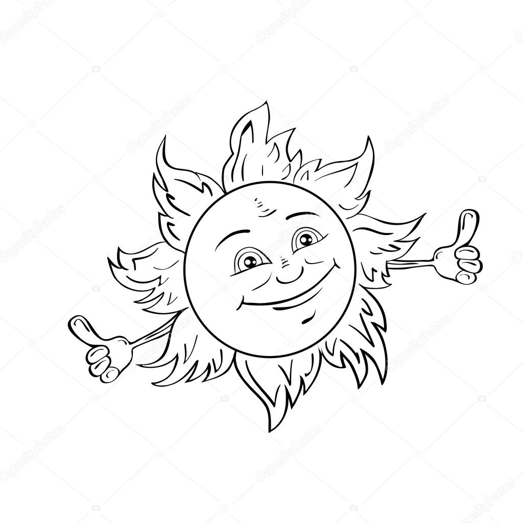 Happy smiling sun isolated on white.Drawing style black and white.