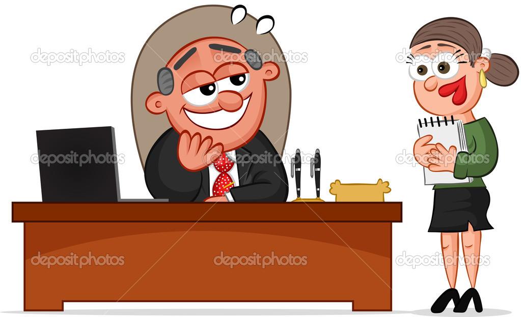 Business Cartoon Boss Mann Und Sekretär Stockvektor Emrahavci