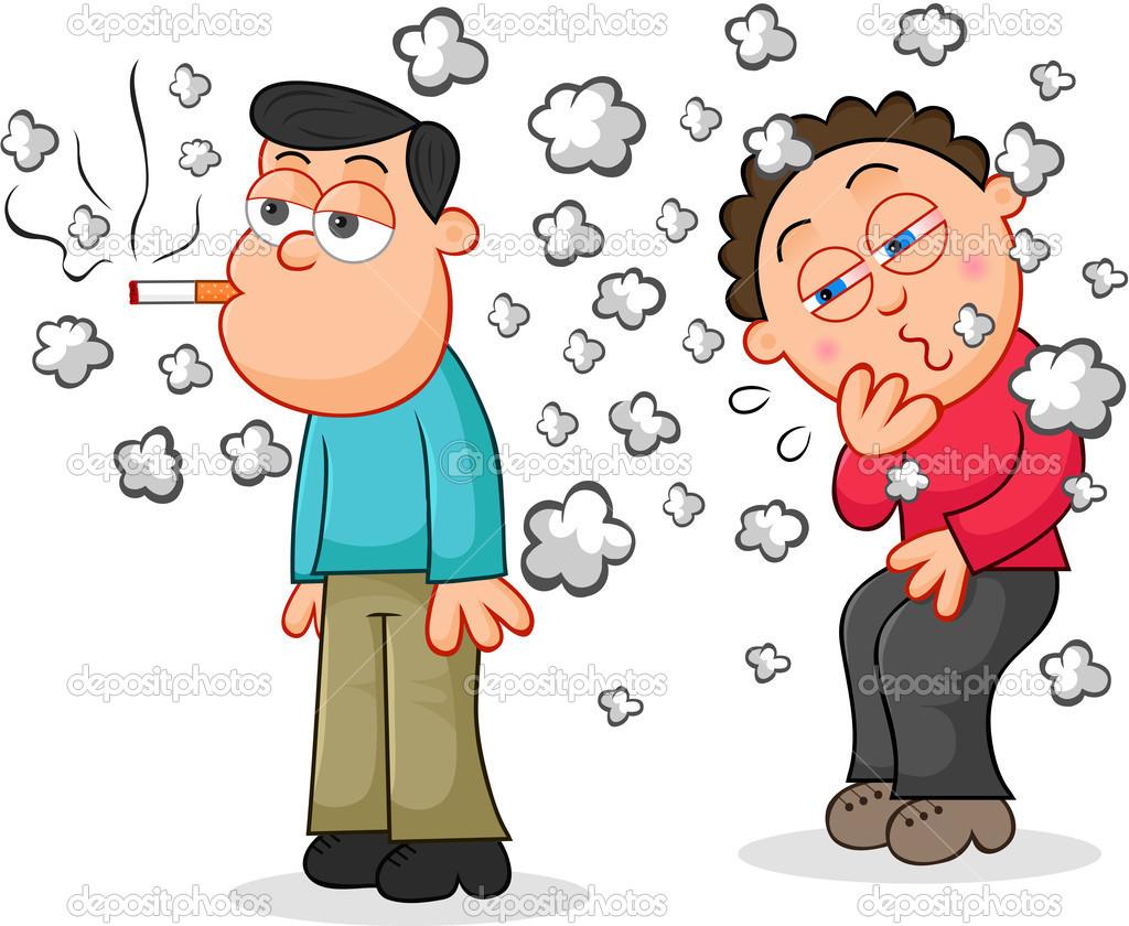 Курение сигарет, в то время как
