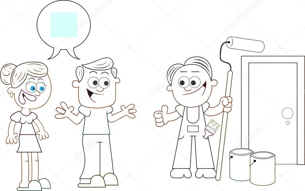 Erkek Ve Kadın üzerinde Boya Renk Katılıyorum Stok Vektör