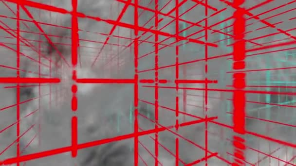 Abstract red grids in 3D space and fog