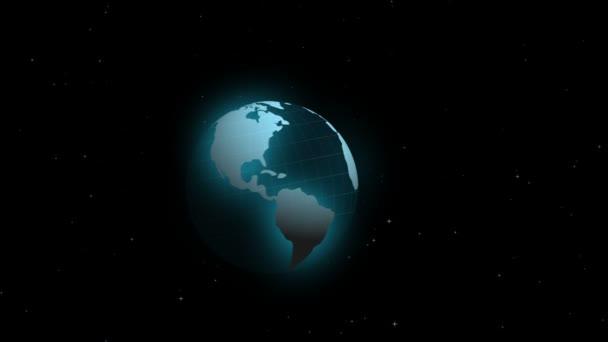 země a abstraktní modré kruhy v 3d