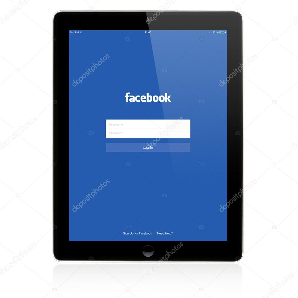 Facebook Login page on Apple iPad screen – Stock Editorial