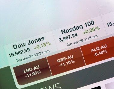 Dow Jones and Nasdaq indexes on iPad display