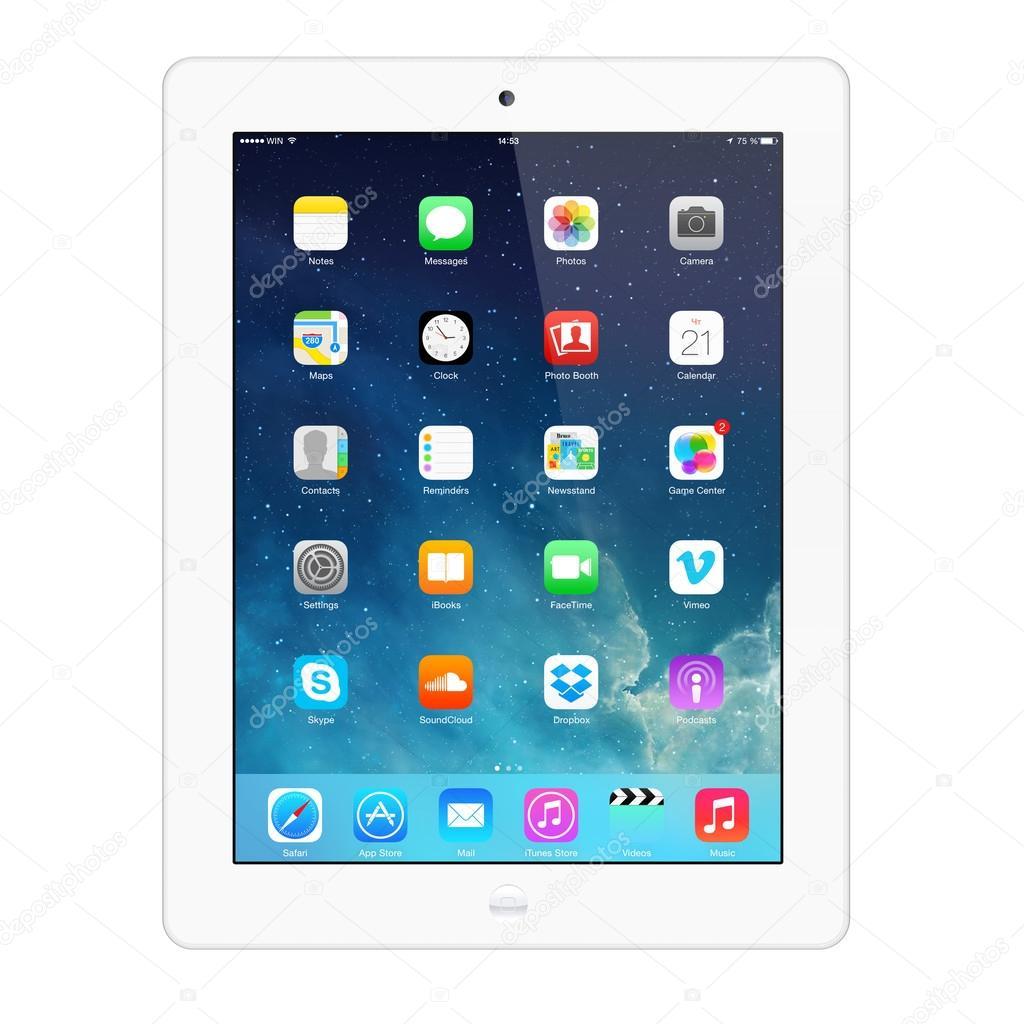 New iOS 7.1.2 homescreen on an white iPad display