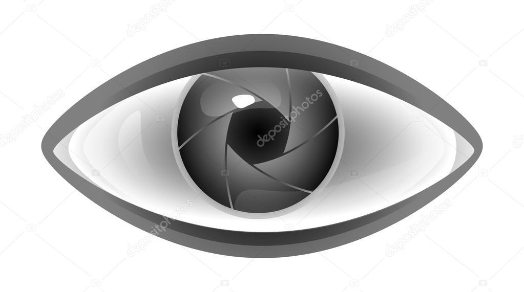 vector illustration of camera shutter eye � stock vector