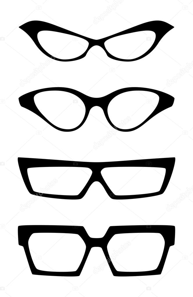 conjunto de las monturas de gafas extravagantes vector — Vector de ...