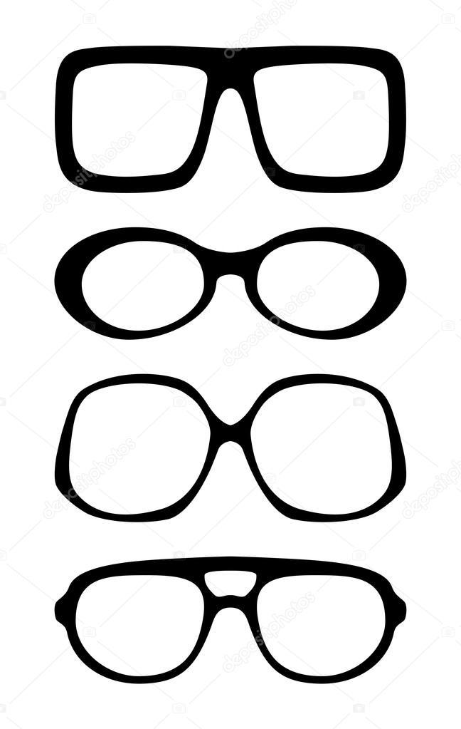 conjunto de las monturas de gafas vintage vector — Vector de stock ...