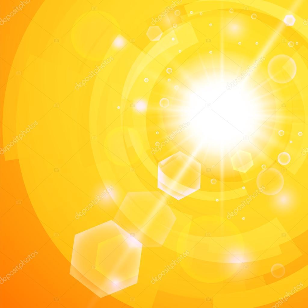 fond orange clair avec un soleil d 39 t fait irruption avec lumi re parasite image vectorielle. Black Bedroom Furniture Sets. Home Design Ideas
