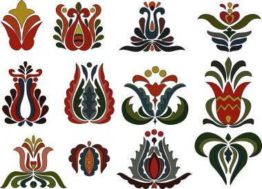 Various colorful flower patterns