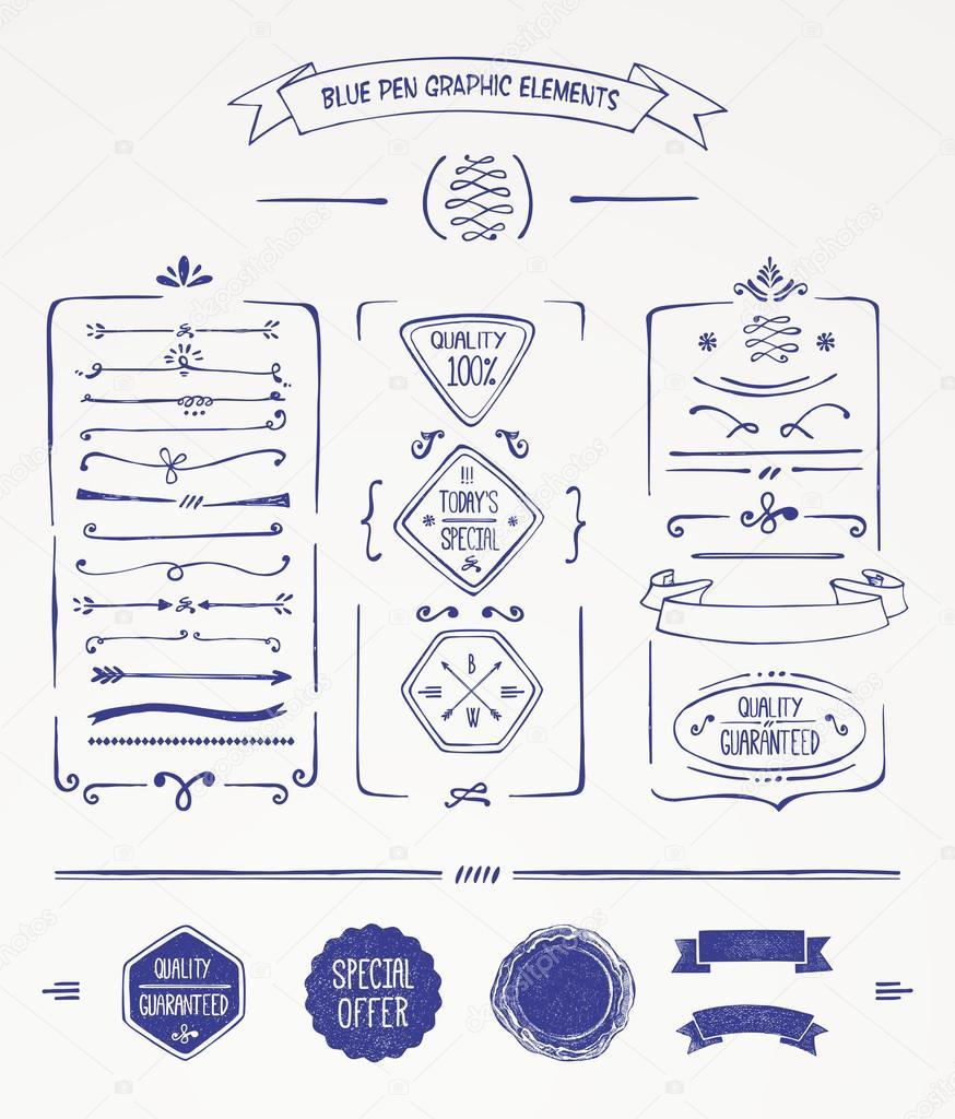 Blue pen graphic elements