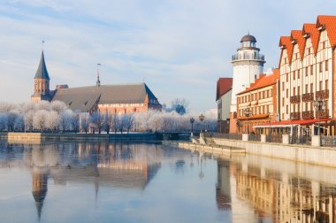 Fishing Village and Kant Cathedral. Kaliningrad. Russia