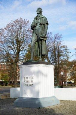 Statue of Johann Christoph Friedrich von Schiller, a German poet, philosopher, historian and playwright in Kaliningrad, Russia.
