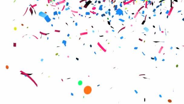 animáció a színes konfetti esik