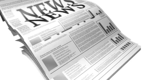 Animation of a newspaper with news related text, lorem ipsum text