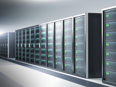 Network server room, row of servers