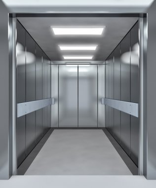 Modern elevator with opened doors