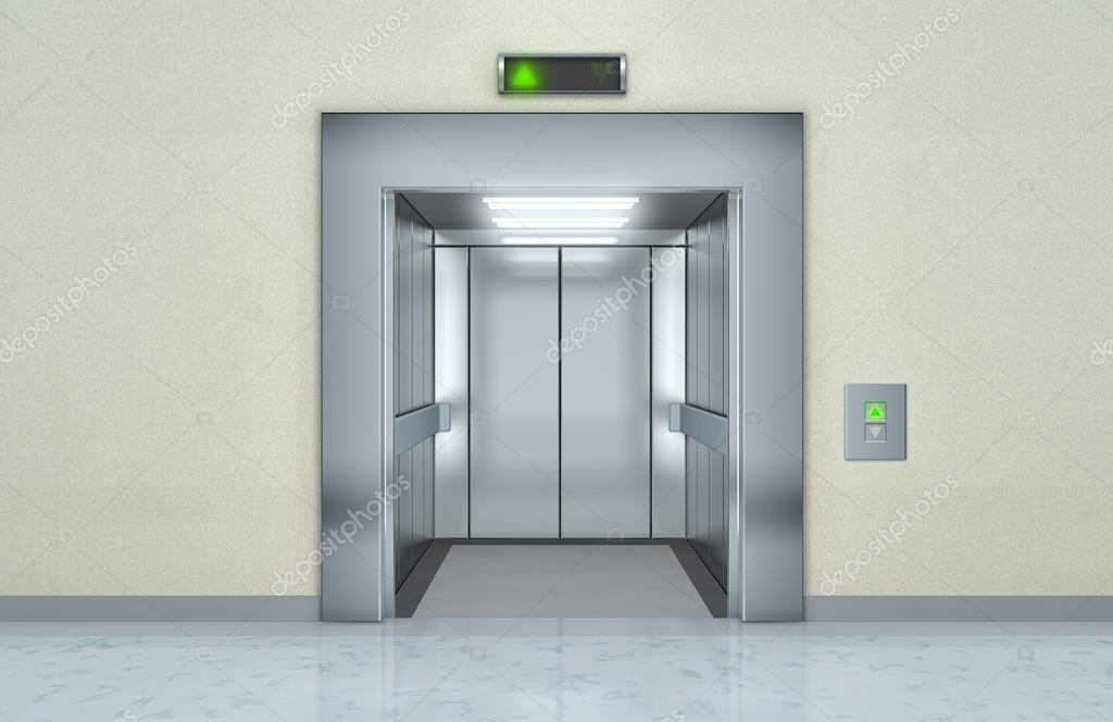 Современный лифт с открытой двери — стоковое фото