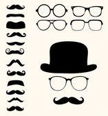 Fotografie Retro mustaches hat glasses
