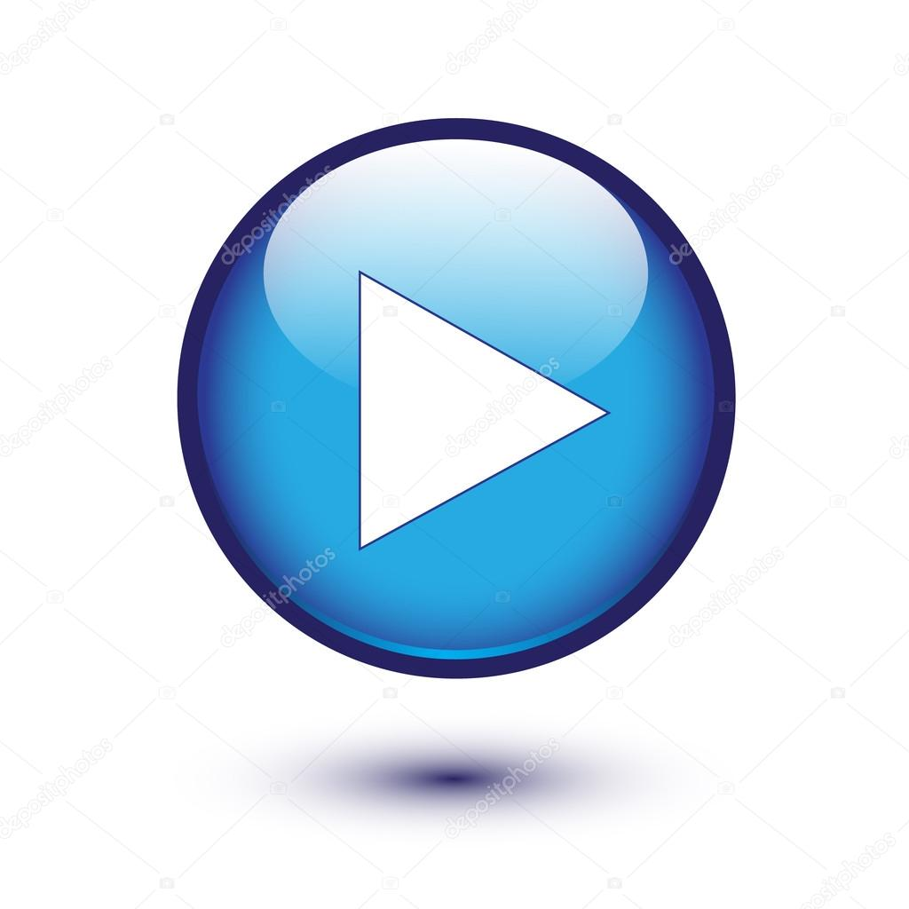 Play icon on blue glossy