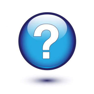 White question mark on blue