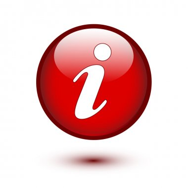 Information icon on red button stock vector