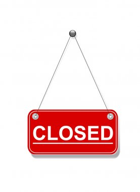 Red closed hanging sign