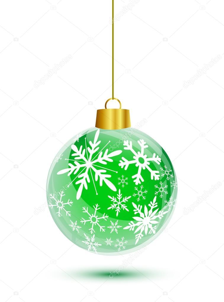 752847a471403 Bola de Navidad verde con colgante de patrón copos de nieve– Ilustración de  Stock