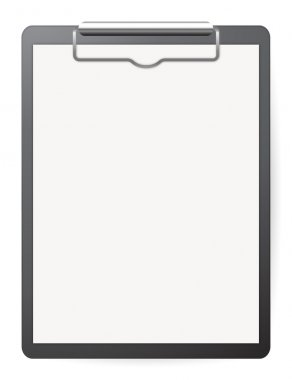 Black record board with white paper on white stock vector