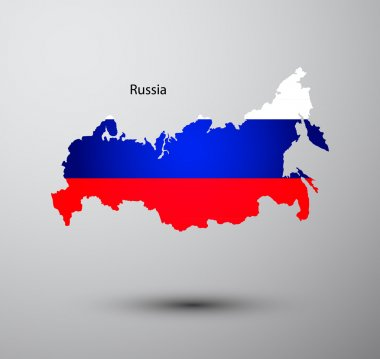 Russia flag on map