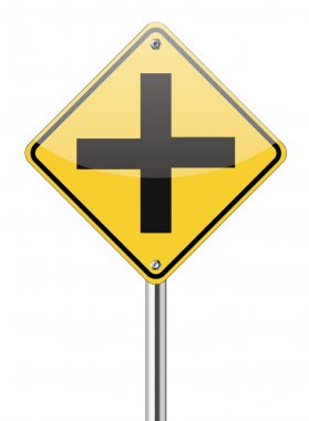 Four intersection traffic sign