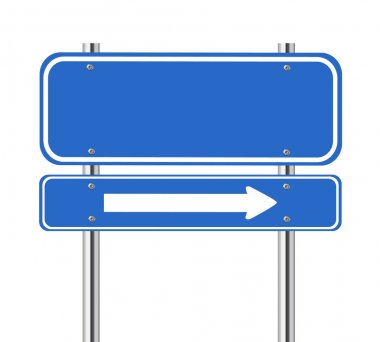 Blank blue traffic sign with white arrow