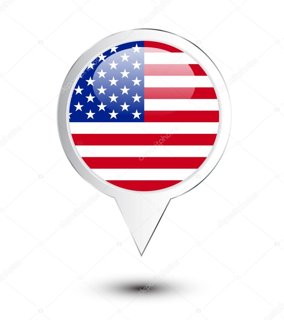United States Of America Flag Map Pin Stock Vector 24079231