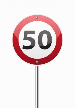 Traffic sign speed limit fifty