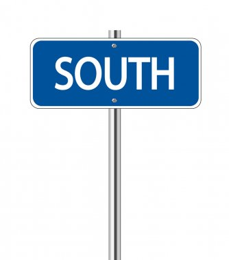 South on blue road sign